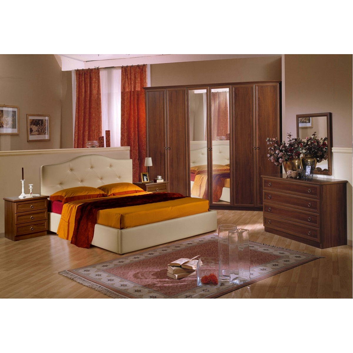 869 camera da letto classica noce letto contenitore for Greche adesive per camere da letto
